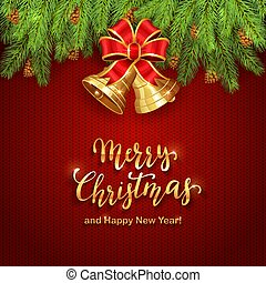 Christmas Lettering on Red Knitted Background with Golden Bells