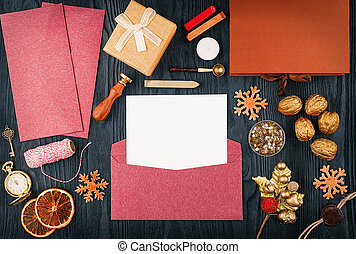 Christmas letters, top view