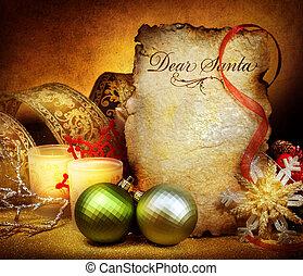 christmas., levél, fordíts, santa., szüret, címzett, köszönés kártya