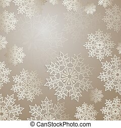 Christmas light background with a set of graceful white snowflakes.