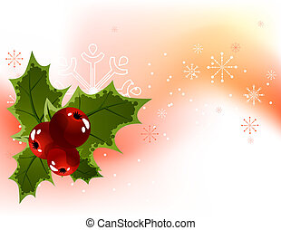 Christmas light background with holly berry and snowflakes