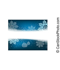 Christmas light blue background with large white and blue snowflakes and retro style balls.