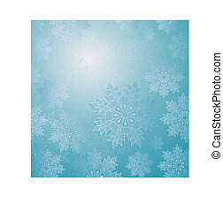 Christmas light blue composition with a set of elegant white snowflakes,