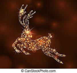 Christmas Light Deer for Happy New Year, Running Stag -...