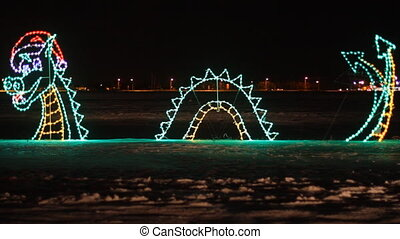Christmas Light - Dragon decorated with Christmas Light in...
