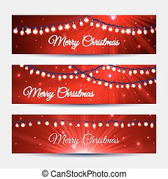Christmas light garlands banners set - Set of banners with...