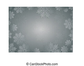 Christmas light gray composition with a set of elegant white snowflakes.