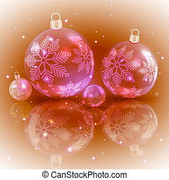 Christmas light ocher design with a set of Christmas shiny red balls with snowflakes,