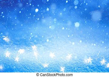 Christmas Light on blue snow background