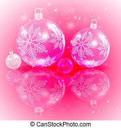 Christmas light pink design with a set of Christmas shiny balls with snowflakes.