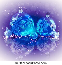 Christmas light purple background with blue glass balls