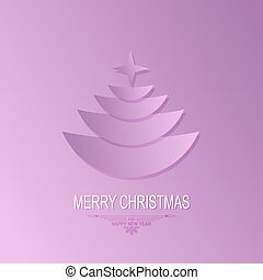 Christmas light purple background with silhouette of Christmas tree