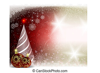 Christmas light red background with burgundy balls and an Christmas tree.