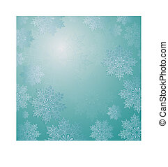 Christmas light turquoise composition with a set of elegant white snowflakes.