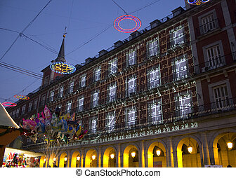 Christmas lighting in Plaza Mayor , Madrid Spain