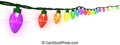 A string of colorful Christmas lights - 3D render