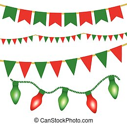 illustration for posters - Christmas lights ans flag...