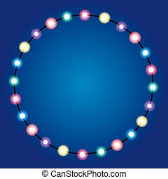 Christmas lights border. Holiday greeting card design. Garland.