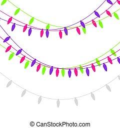 Christmas lights candle-shaped garland. Vector flat Xmas garland. Festive garlands set