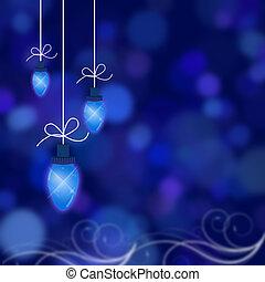 Christmas Lights - Christmas lights illustrated on a blue...