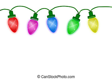 Christmas Lights - Christmas lights illustrated on a white...