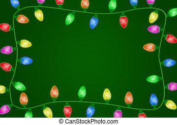 Christmas Lights - Christmas lights on a green background,...