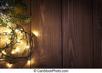 christmas lights, en, sneeuw, pijnboom