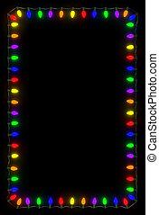 Christmas Lights Frame - Christmas lights frame on black...