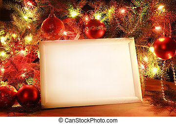 Christmas lights frame - Colorful abstract background with...