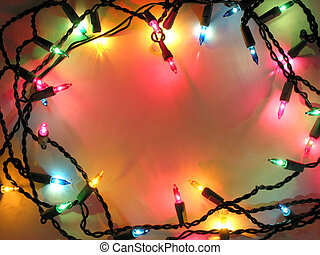 Christmas lights frame - Colorful background with Christmas...