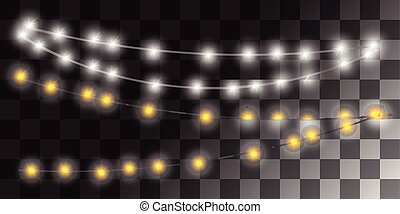 Christmas lights garland isolated on transparent background.
