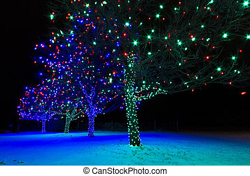 Christmas Lights - Historic farm decorated with Christmas ...