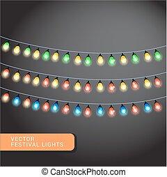 Christmas lights, holiday background, eps 10 vector illustration
