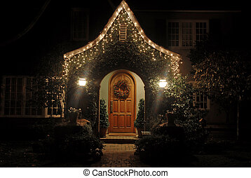 Christmas lights - Home decorated for Christmas, Palo Alto,...