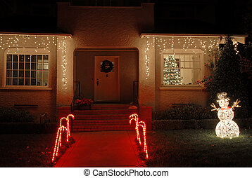 Christmas lights - House decorated for Christmas, Palo Alto,...