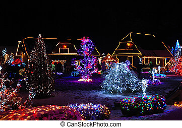 Christmas lights - Houses and trees decorated with colorful ...