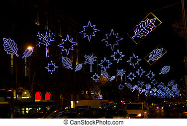 Christmas lights in Barcelona street at night