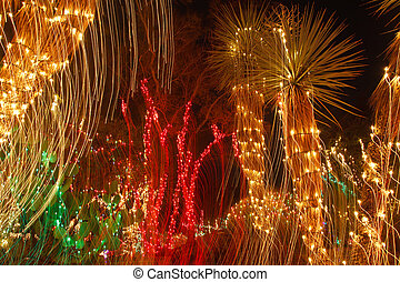 Christmas Lights in Motion at Night