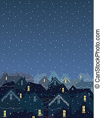 christmas lights in the city - an illustration of rooftops ...
