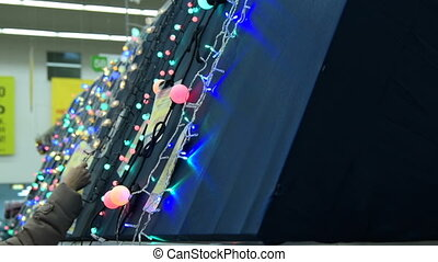 Christmas lights in the store