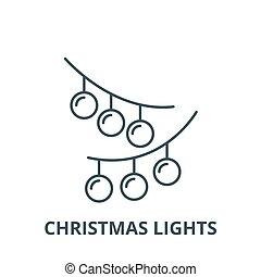 Christmas lights line icon, vector. Christmas lights outline sign, concept symbol, flat illustration