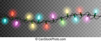 christmas lights luminous garland isolated realistic design ...