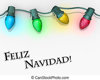 Christmas Lights Merry Christmas - Spanish Language -...