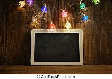christmas lights, met, lei, bord