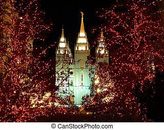 Christmas lights on church temple