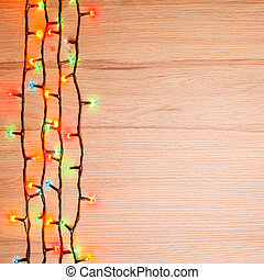 Christmas lights on wood