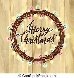 Christmas lights on wooden background. New year garland.