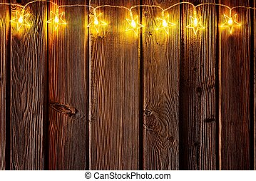 Christmas Lights On Wooden Rustic Background