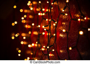 Christmas lights over dark background