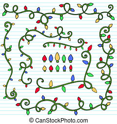 Christmas Lights Page Border Doodle - Christmas Lights...